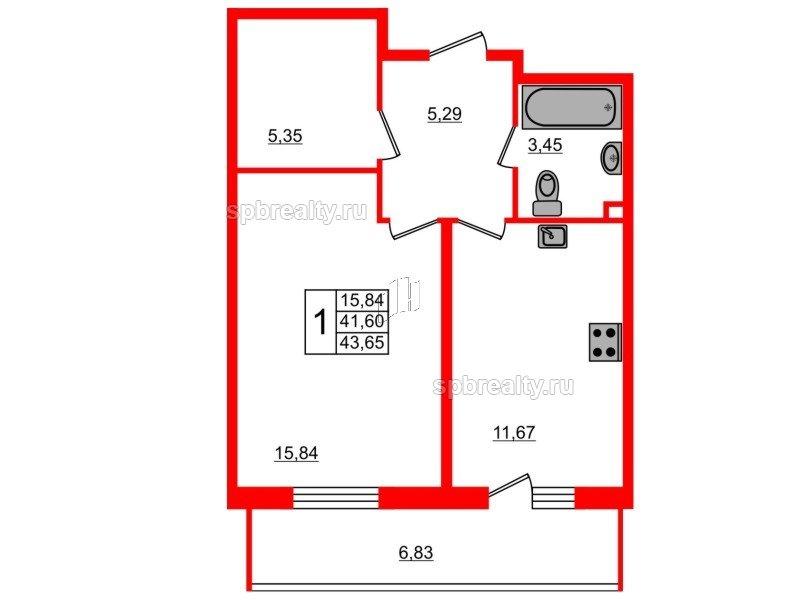 Планировка Однокомнатная квартира площадью 43.65 кв.м в ЖК «UP-квартал Комендантский»