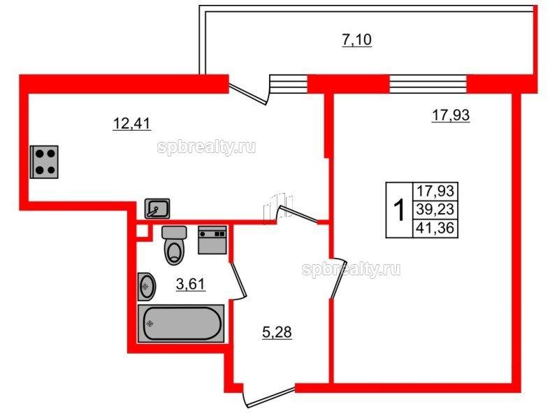Планировка Однокомнатная квартира площадью 41.36 кв.м в ЖК «UP-квартал Комендантский»