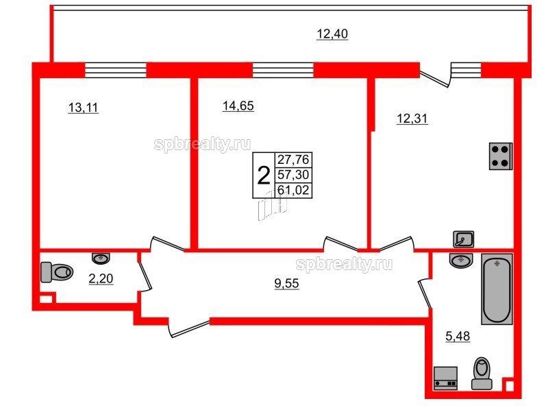 Планировка Двухкомнатная квартира площадью 61.02 кв.м в ЖК «UP-квартал Комендантский»