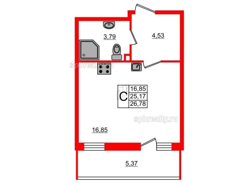 Планировка Студия площадью 26.78 кв.м в ЖК «UP-квартал Комендантский»
