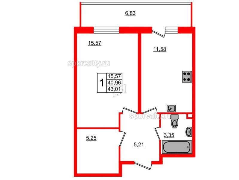 Планировка Однокомнатная квартира площадью 43.01 кв.м в ЖК «UP-квартал Комендантский»