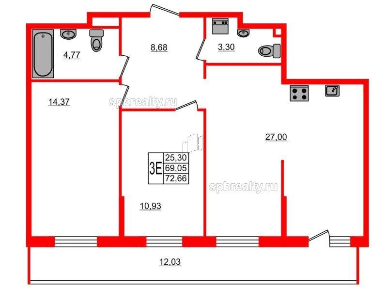 Планировка Двухкомнатная квартира площадью 72.66 кв.м в ЖК «UP-квартал Комендантский»