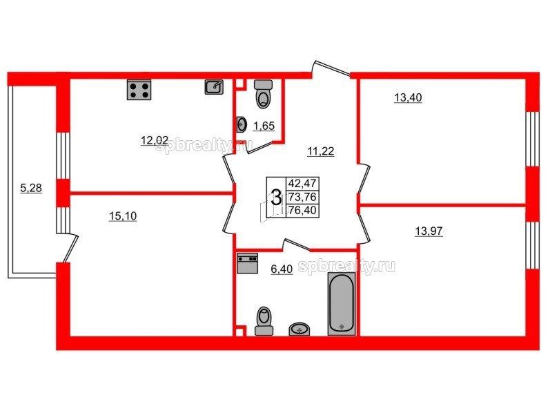 Планировка Трёхкомнатная квартира площадью 76.4 кв.м в ЖК «UP-квартал Комендантский»