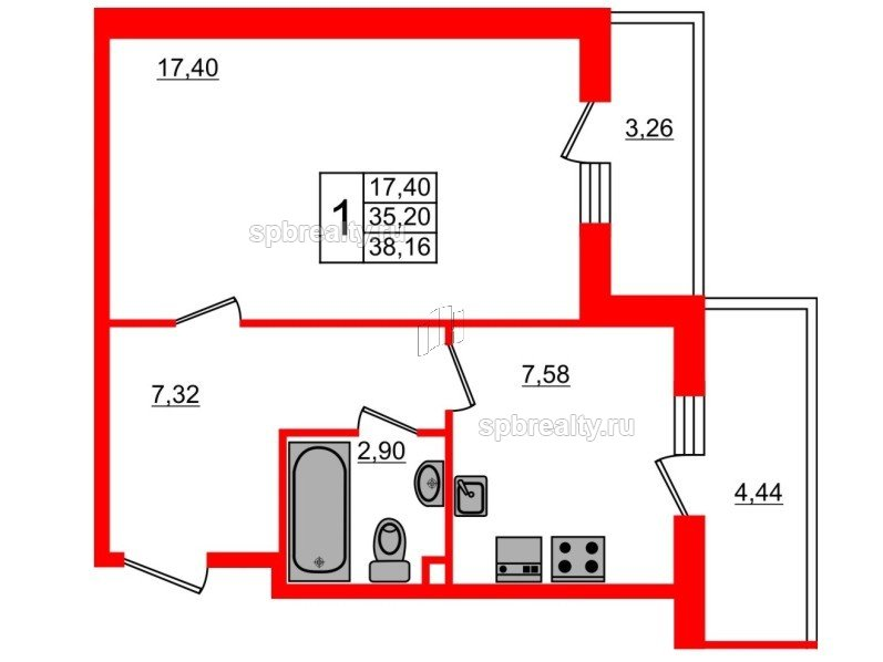 Планировка Однокомнатная квартира площадью 38.16 кв.м в ЖК «UP-квартал Комендантский»