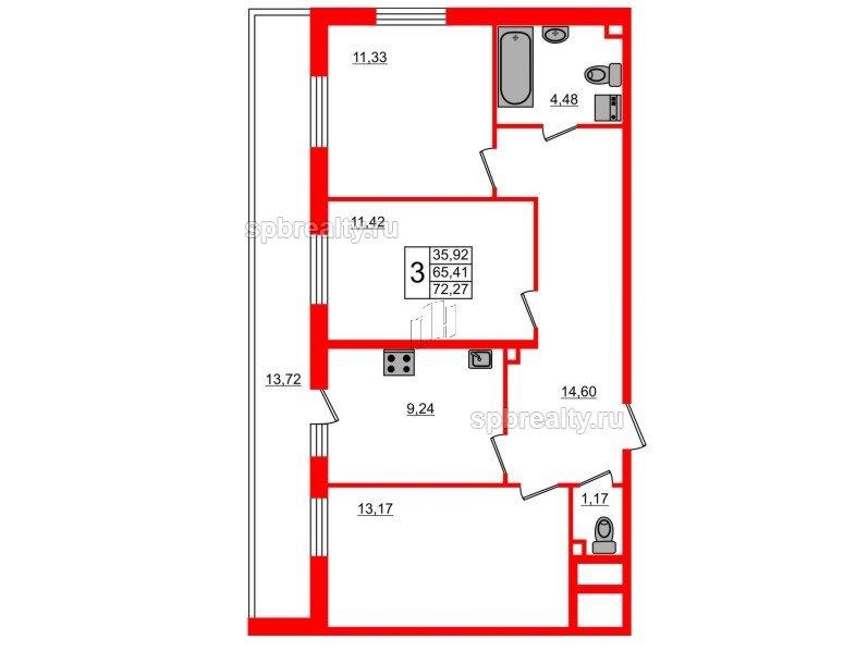 Планировка Трёхкомнатная квартира площадью 72.27 кв.м в ЖК «UP-квартал Комендантский»