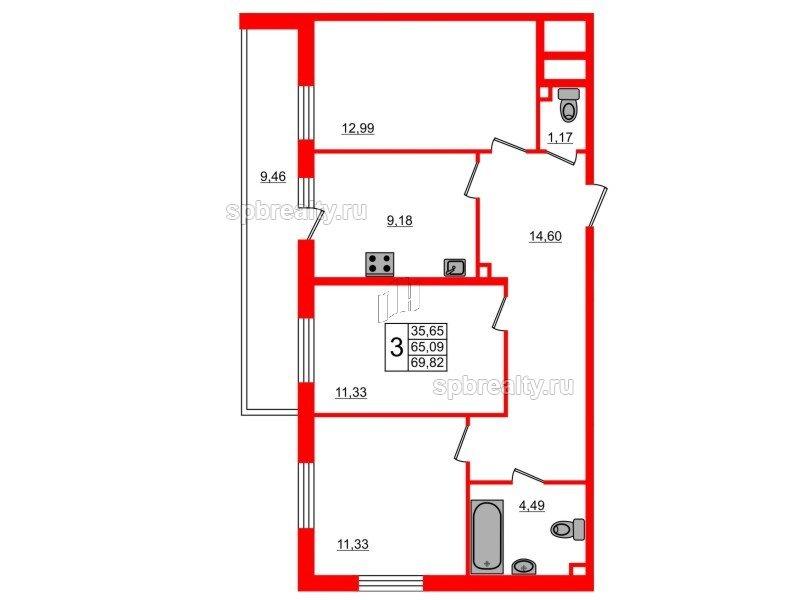 Планировка Трёхкомнатная квартира площадью 69.82 кв.м в ЖК «UP-квартал Комендантский»
