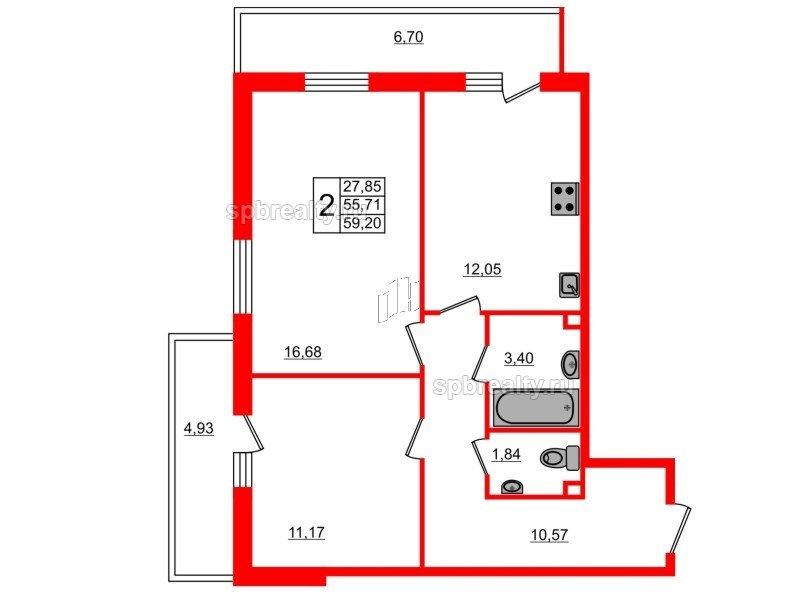 Планировка Двухкомнатная квартира площадью 59.2 кв.м в ЖК «UP-квартал Комендантский»