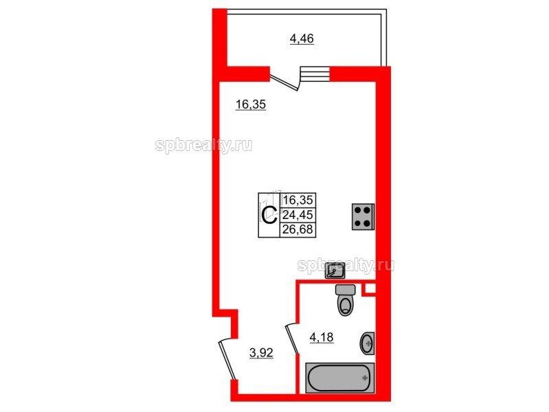 Планировка Студия площадью 26.68 кв.м в ЖК «UP-квартал Комендантский»
