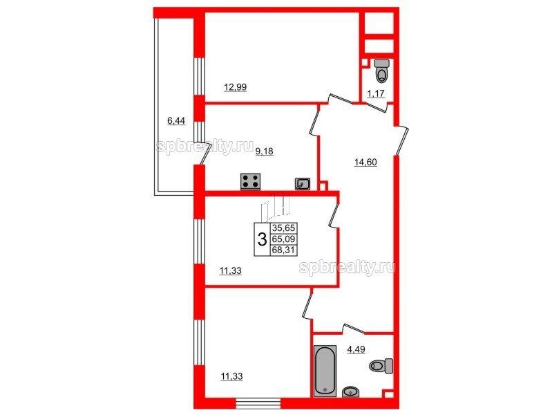 Планировка Трёхкомнатная квартира площадью 68.31 кв.м в ЖК «UP-квартал Комендантский»