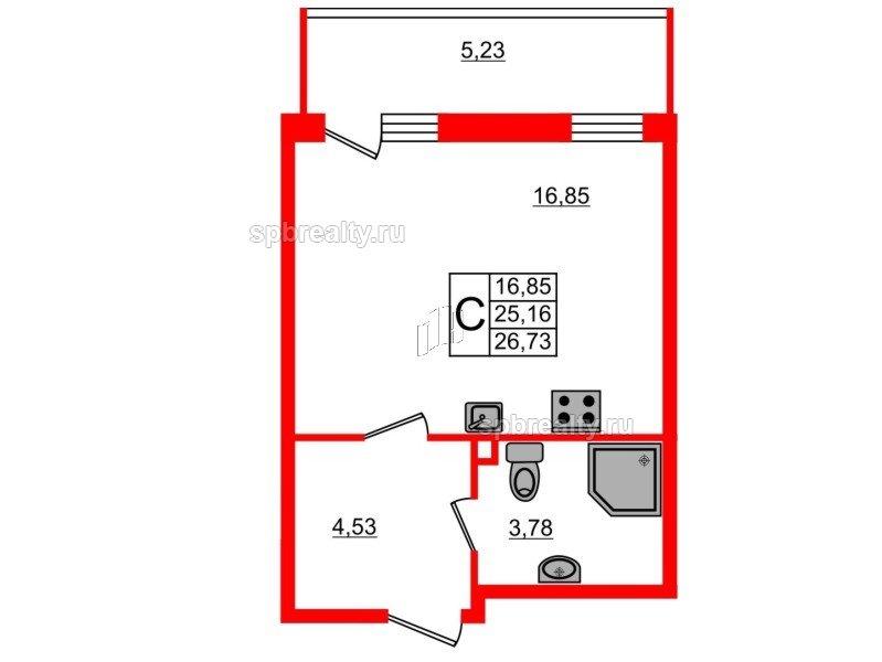 Планировка Студия площадью 26.73 кв.м в ЖК «UP-квартал Комендантский»