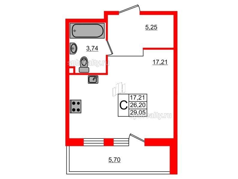 Планировка Студия площадью 29.05 кв.м в ЖК «UP-квартал Комендантский»
