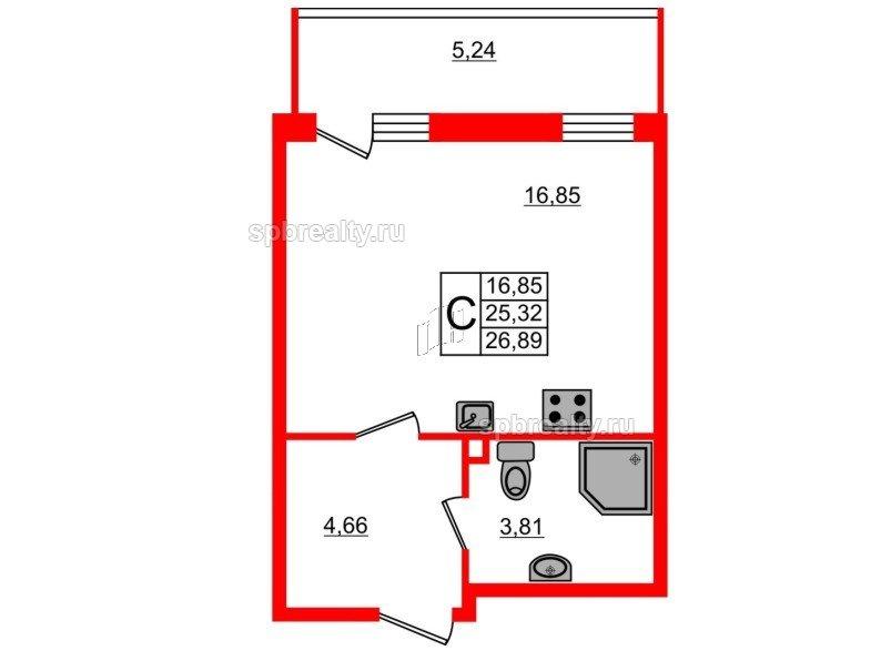 Планировка Студия площадью 26.89 кв.м в ЖК «UP-квартал Комендантский»