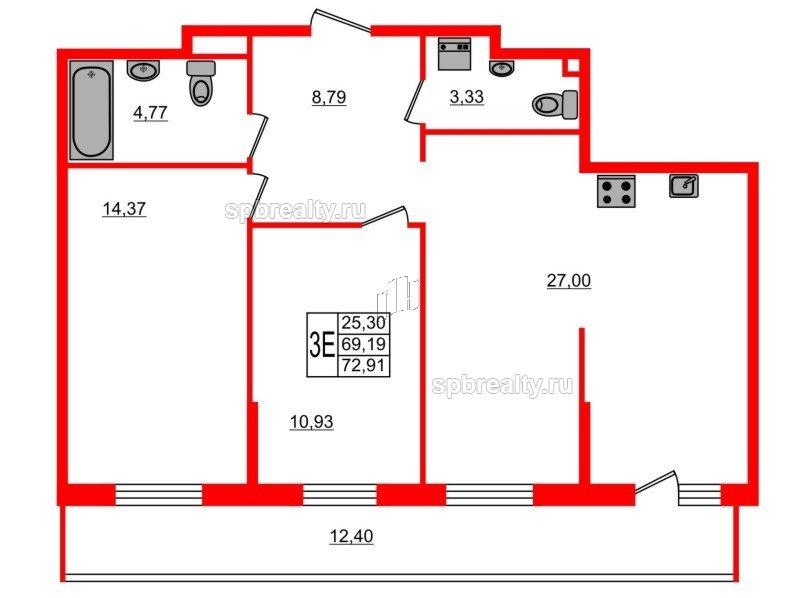 Планировка Двухкомнатная квартира площадью 72.91 кв.м в ЖК «UP-квартал Комендантский»