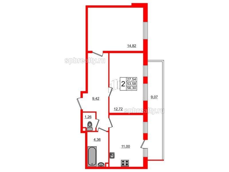 Планировка Двухкомнатная квартира площадью 56.3 кв.м в ЖК «UP-квартал Комендантский»