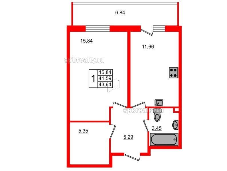 Планировка Однокомнатная квартира площадью 43.64 кв.м в ЖК «UP-квартал Комендантский»