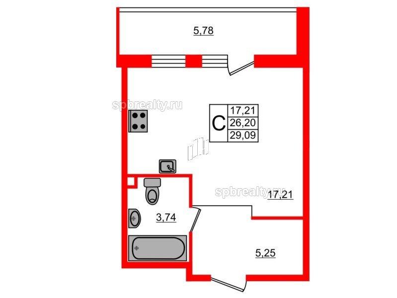 Планировка Студия площадью 29.09 кв.м в ЖК «UP-квартал Комендантский»
