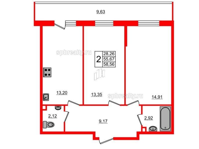 Планировка Двухкомнатная квартира площадью 58.56 кв.м в ЖК «UP-квартал Комендантский»