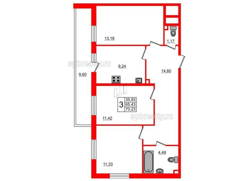 Планировка Трёхкомнатная квартира площадью 70.23 кв.м в ЖК «UP-квартал Комендантский»