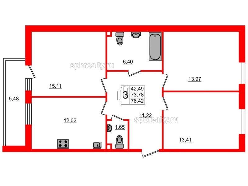 Планировка Трёхкомнатная квартира площадью 76.42 кв.м в ЖК «UP-квартал Комендантский»