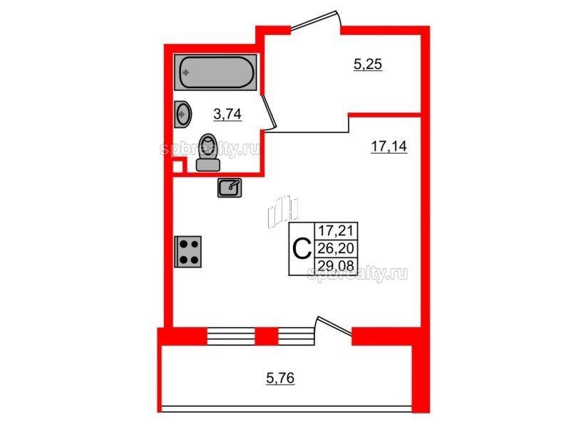 Планировка Студия площадью 29.08 кв.м в ЖК «UP-квартал Комендантский»