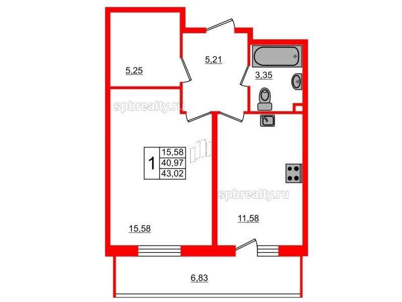 Планировка Однокомнатная квартира площадью 43.02 кв.м в ЖК «UP-квартал Комендантский»