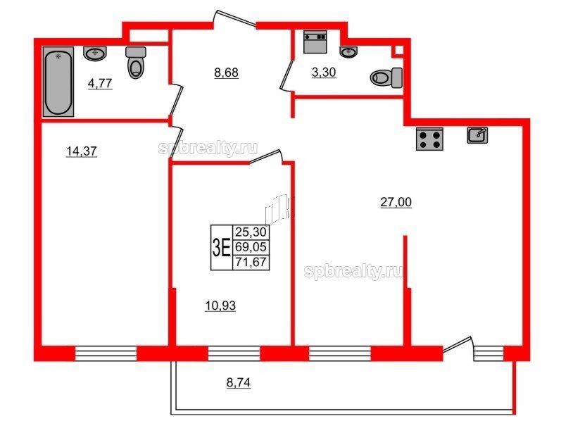 Планировка Двухкомнатная квартира площадью 71.67 кв.м в ЖК «UP-квартал Комендантский»