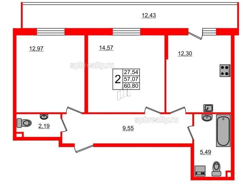 Планировка Двухкомнатная квартира площадью 60.8 кв.м в ЖК «UP-квартал Комендантский»