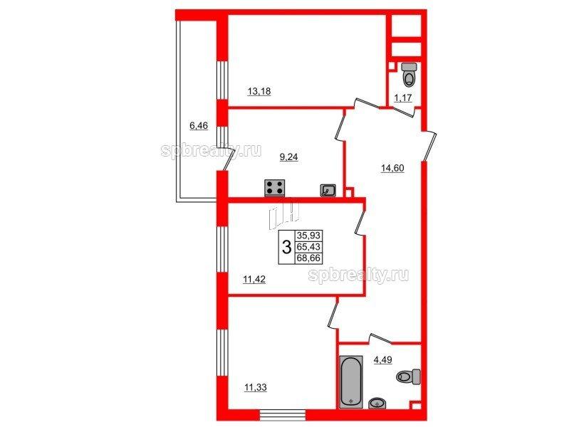 Планировка Трёхкомнатная квартира площадью 68.66 кв.м в ЖК «UP-квартал Комендантский»